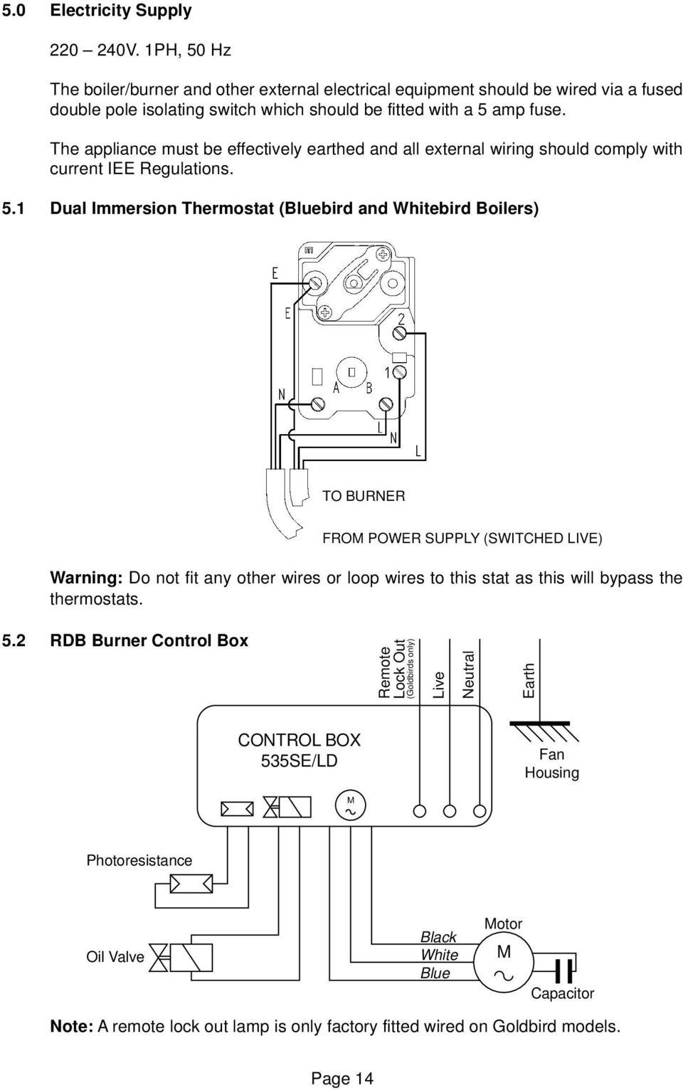 Installation Servicing Manual For Pdf Mains Voltage Thermostat With 2 Wire Connection Earth The Appliance Must Be Effectively Earthed And All External Wiring Should Comply Current Iee Regulations