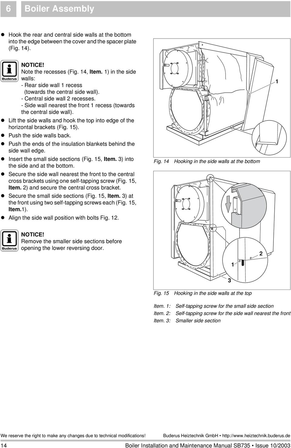 Boiler Installation And Maintenance Manual Pdf Buderus Wiring Diagram Lift The Side Walls Hook Top Into Edge Of Horizontal Brackets Fig