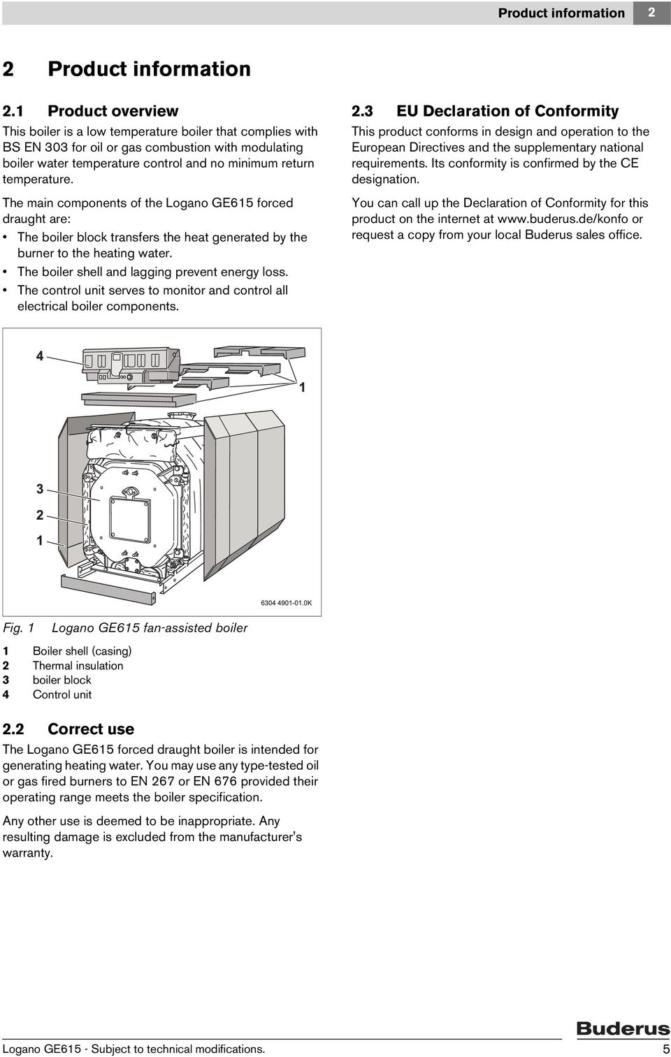 Installation And Servicing Instructions Pdf Buderus Boiler Wiring Diagram The Main Components Of Logano Ge615 Forced Draught Are Block Transfers
