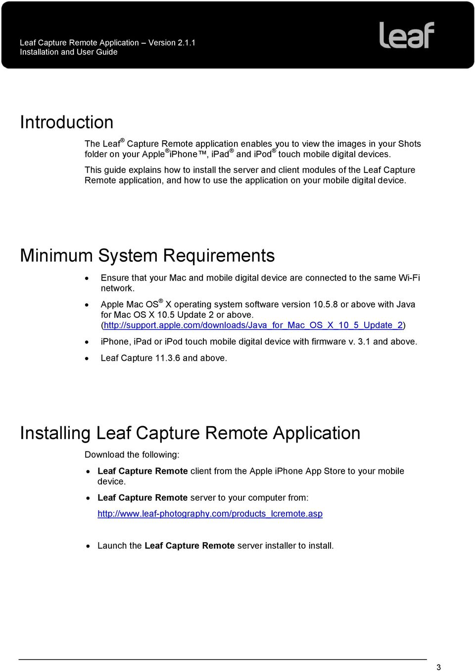Installation and User Guide  Leaf Capture Remote Version PDF