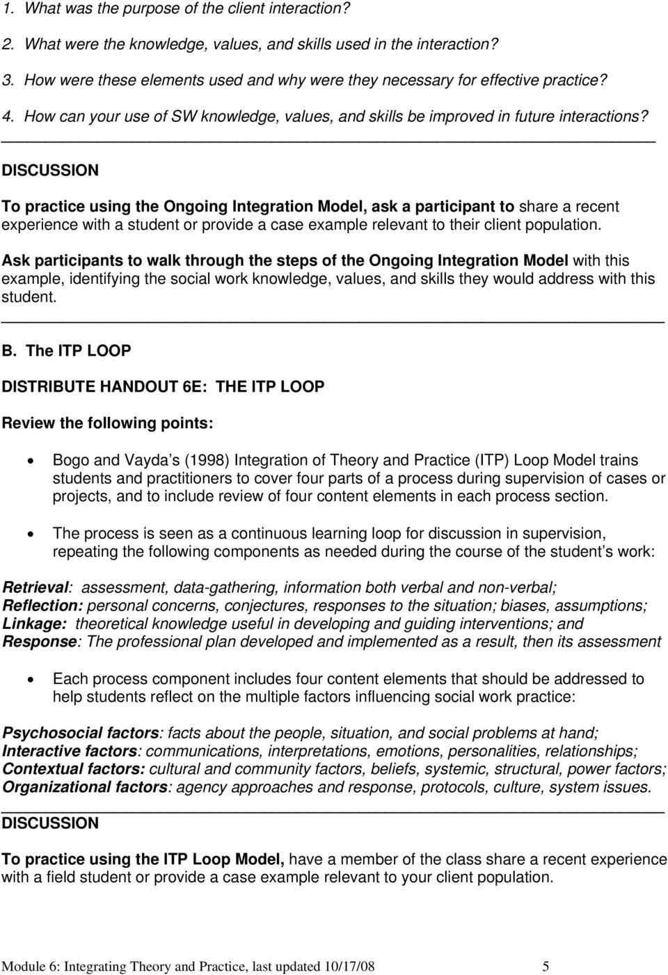 MODULE 6: INTEGRATING THEORY AND PRACTICE: OUTLINE - PDF