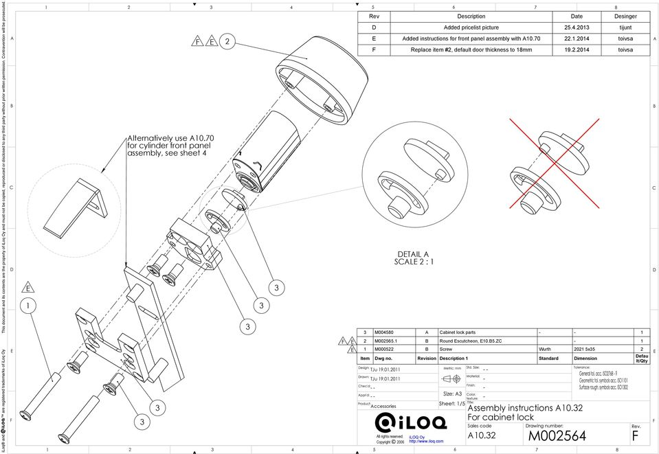 M Assembly Instructions A10 32 For Cabinet Lock Sales Code A