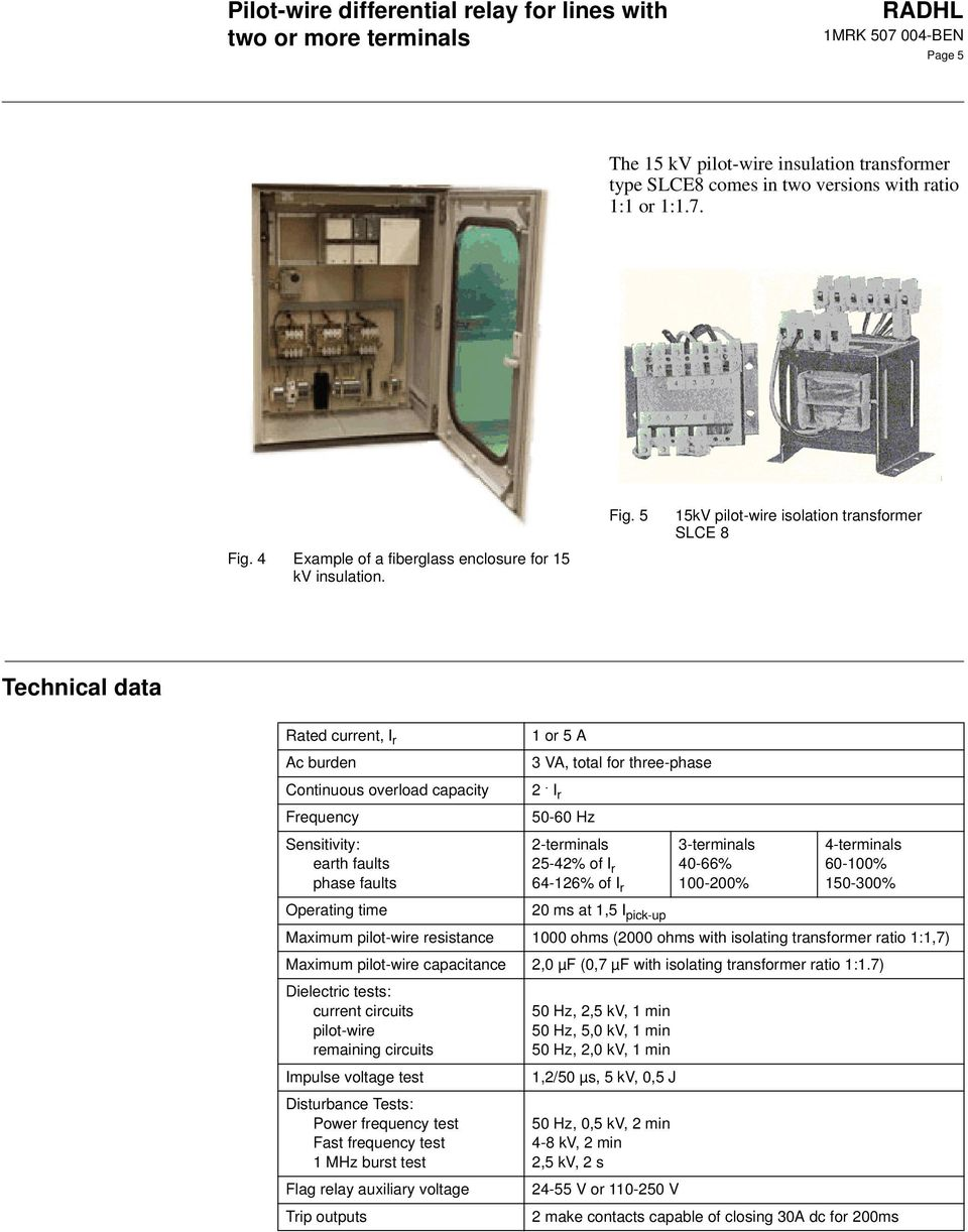 Pilot Wire Differential Relay For Lines With Two Or More Terminals Pdf The I O Insulation Element Of Affected Solidstate Relays Circuit 5 15kv Isolation Transformer Slce 8 Technical Data Rated Current R