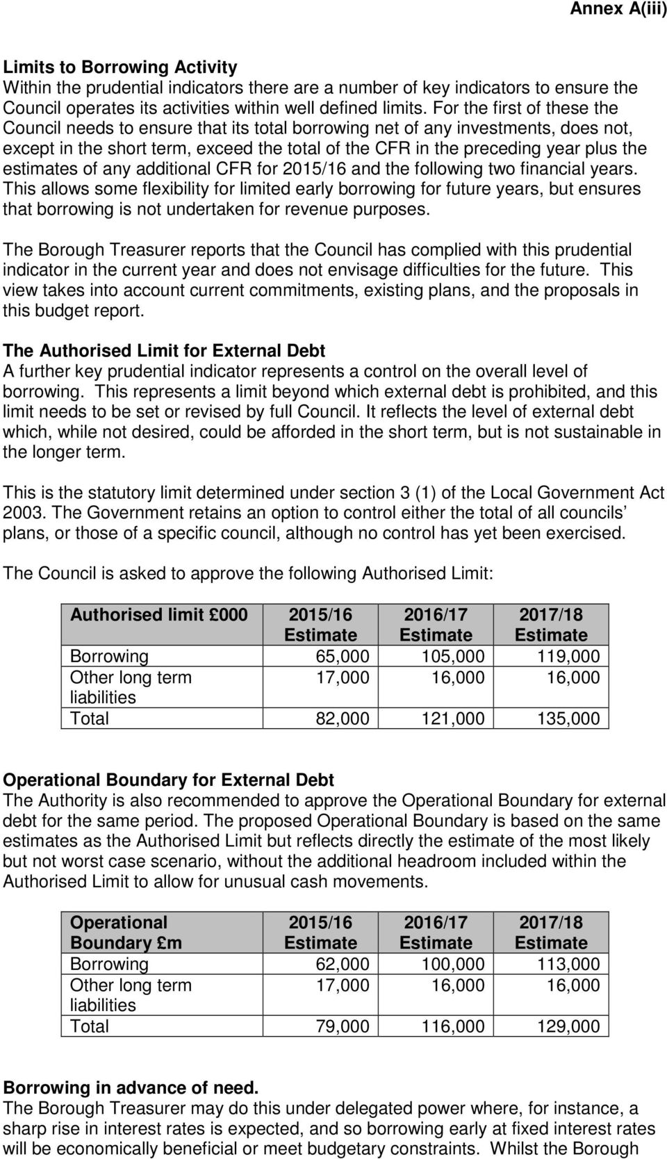 estimates of any additional CFR for 2015/16 and the following two financial years.
