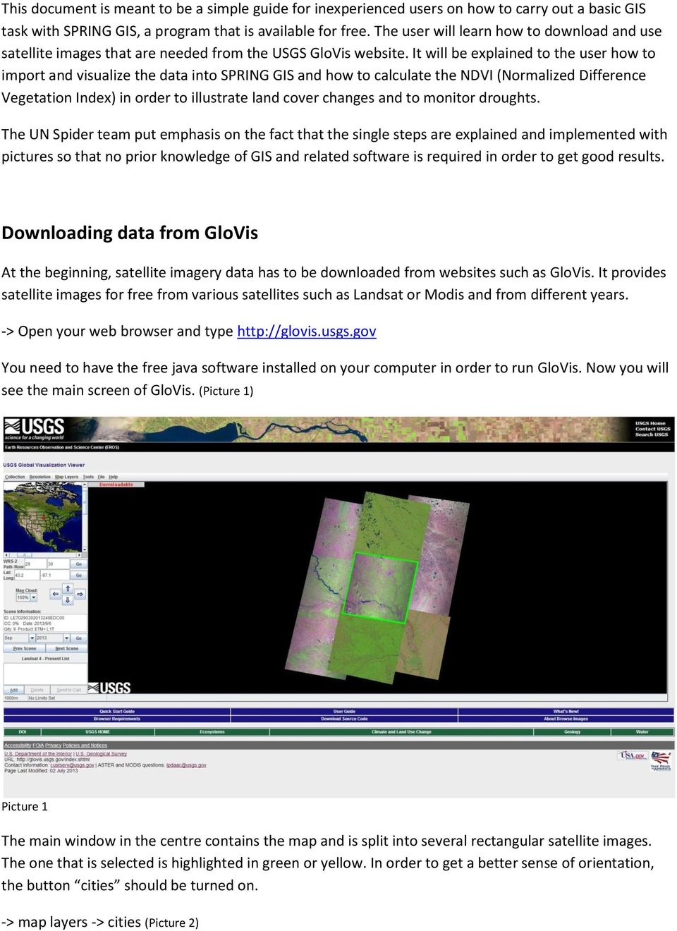 and satellite image download with the USGS GloVis portal - PDF