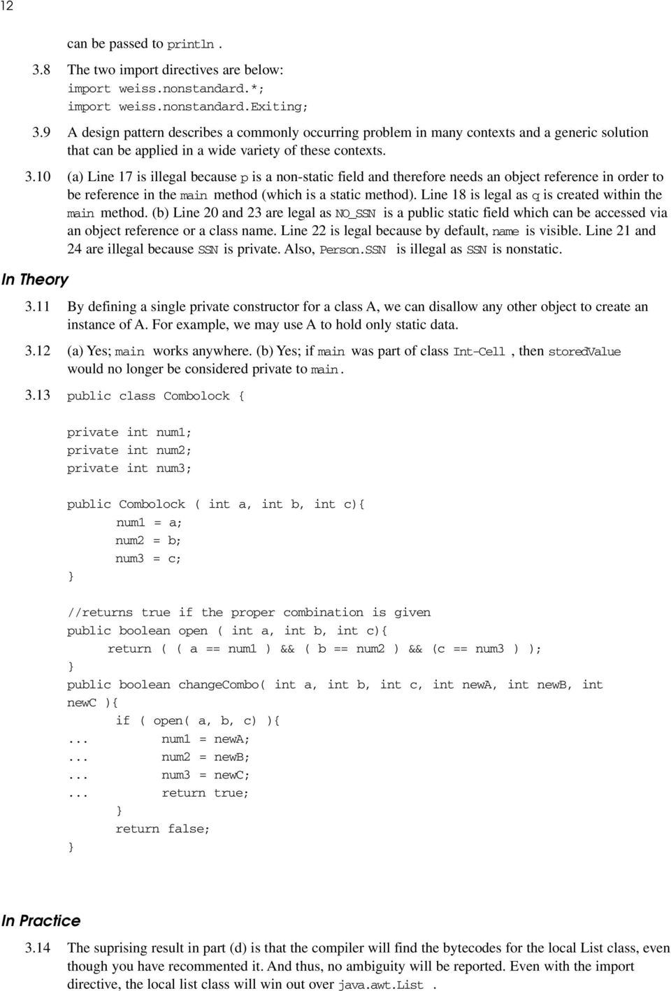 10 (a) Line 17 is illegal because p is a non-static field