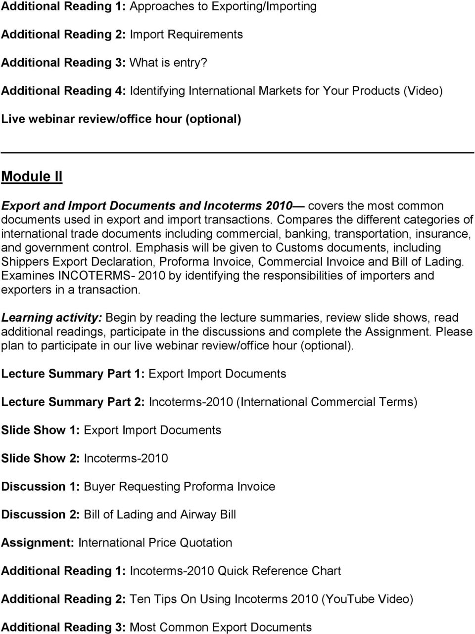 Course Syllabus and Topics Outline Export/Import Practices