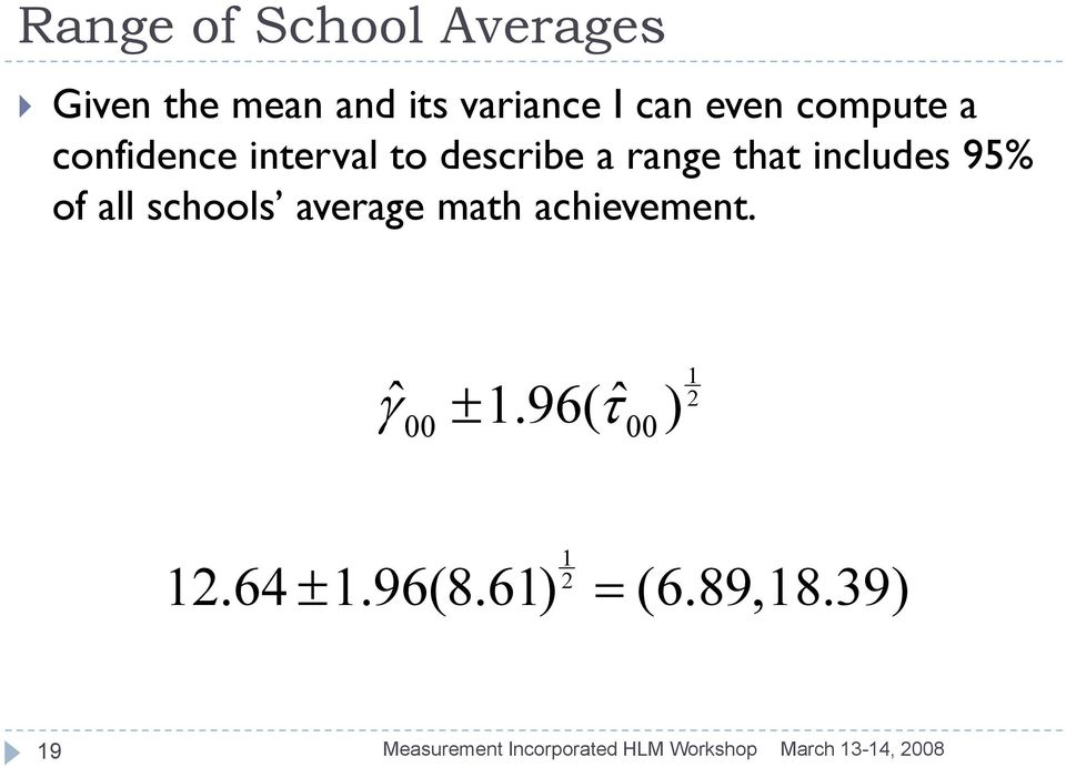 all schools average math achievement. ˆ γ ± 1.96( ˆ τ ) 00 00 1 2 1 12.