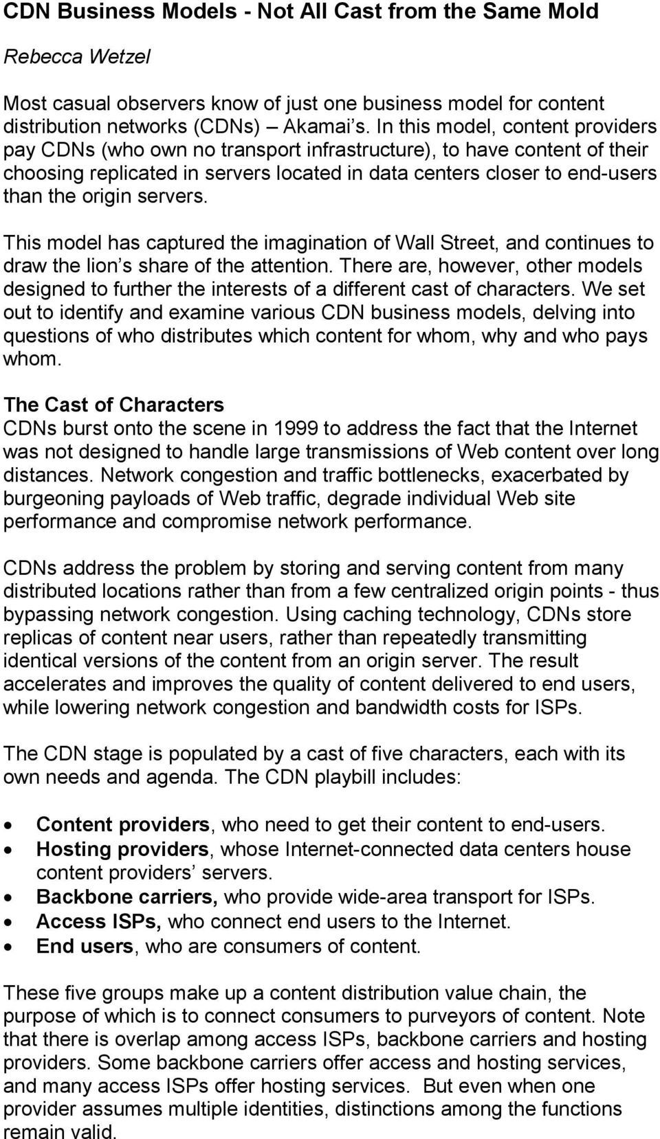 CDN Business Models - Not All Cast from the Same Mold - PDF