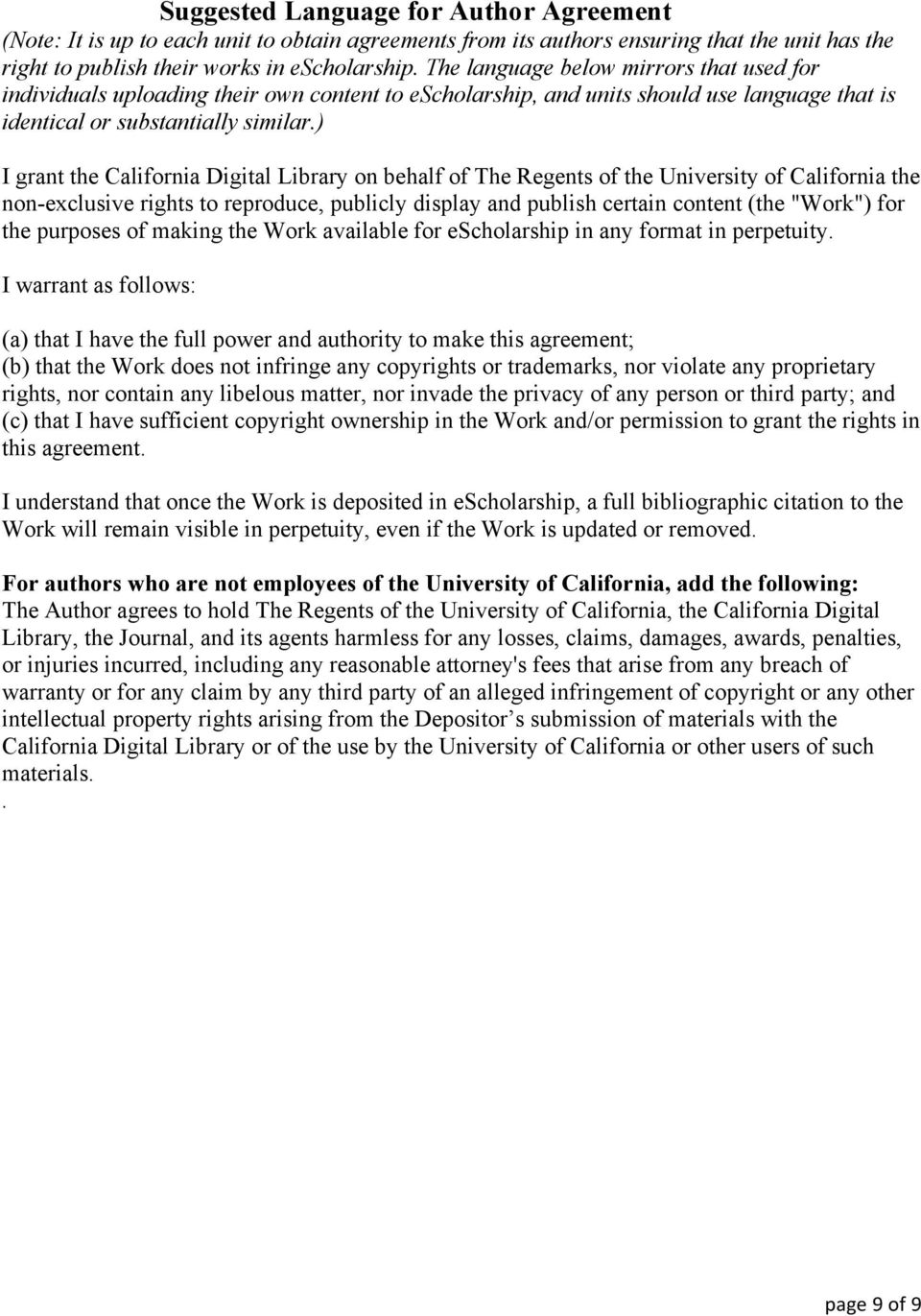 Cdl Digital Assets Submission Agreement For Escholarship Academic