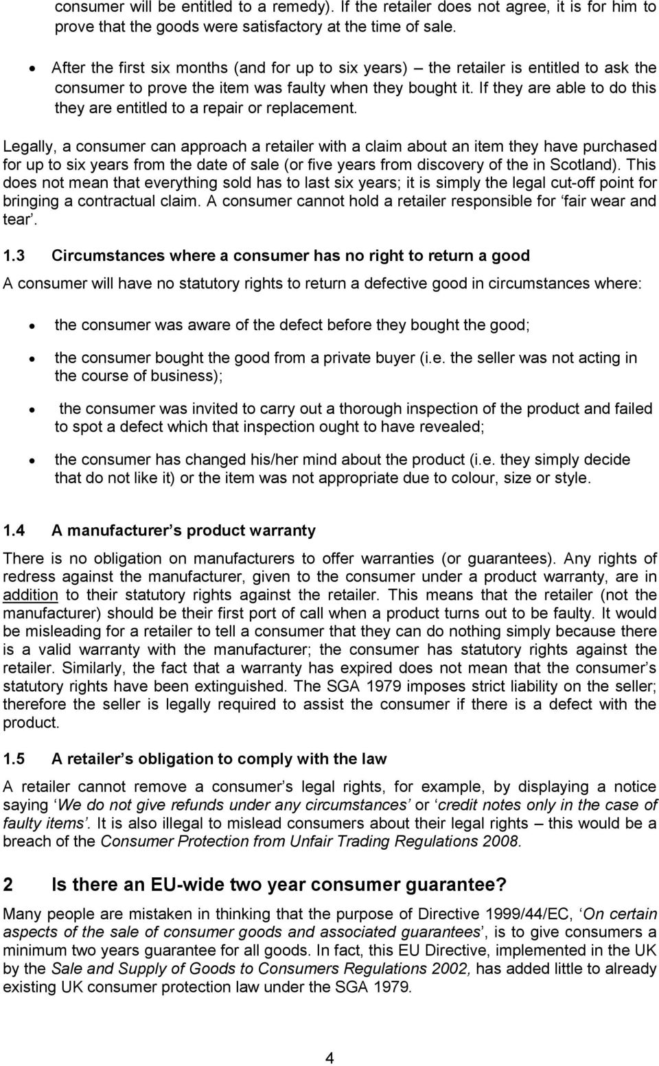 Consumer rights to return faulty goods - PDF