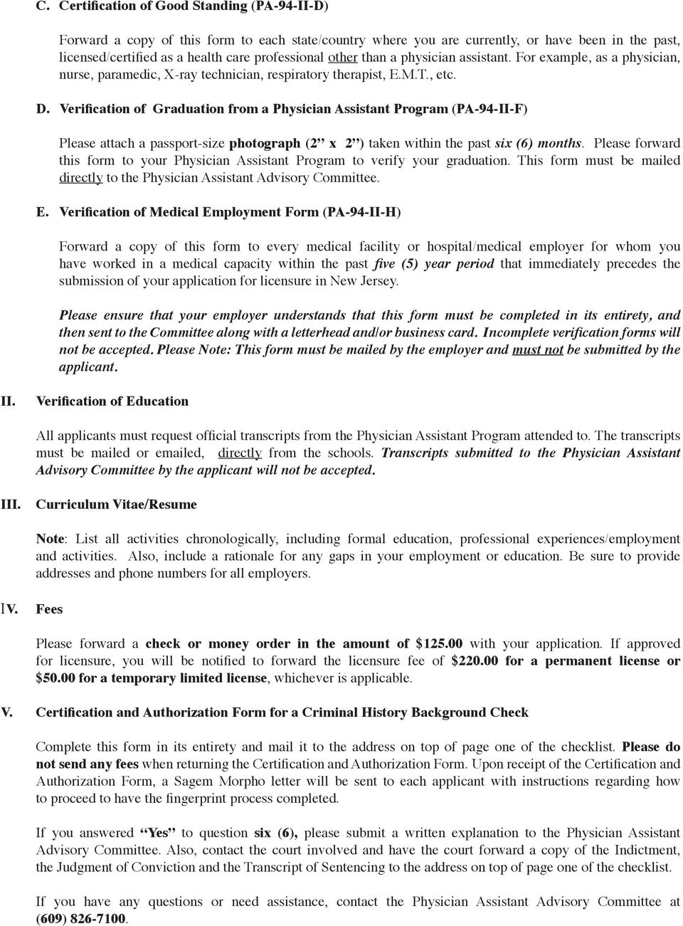 Physician Assistant Application For Licensure Checklist Pdf