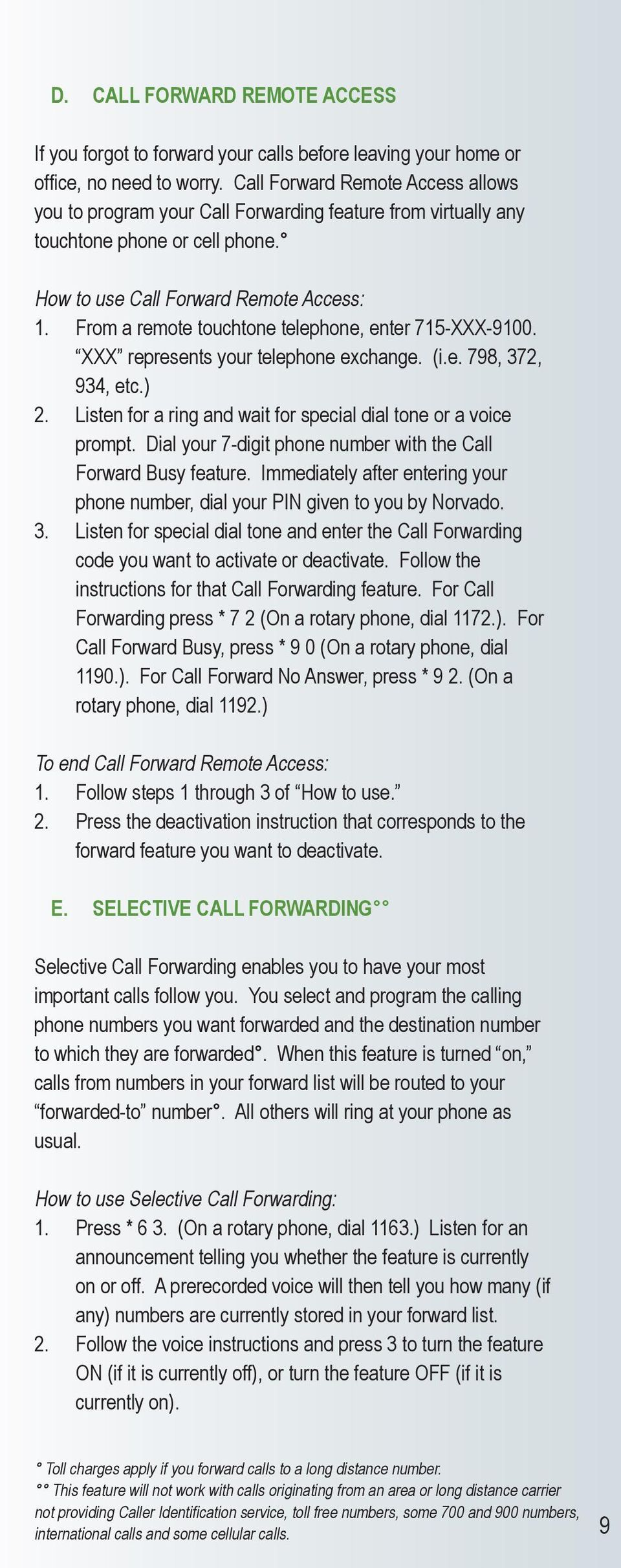 A Quick Reference to Telephone Features and Services - PDF