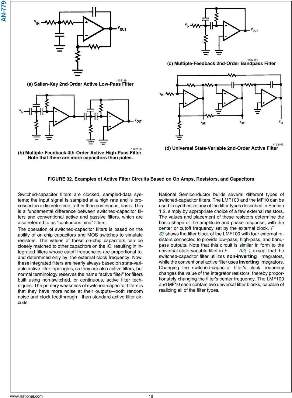 Lm833lmf100mf10 Application Note 779 A Basic Introduction To Values Of The Resistors And Capacitors For Our Thirdorder Circuit Examples Active Filter Circuits Based On Op Amps Switched
