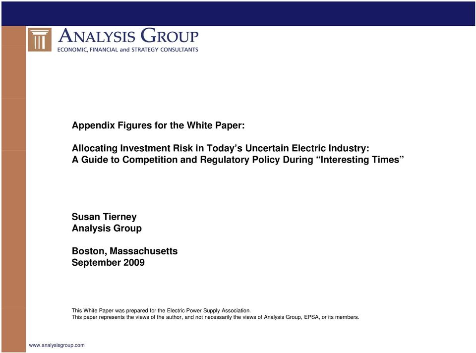 September 2009 This White Paper was prepared for the Electric Power Supply Association.
