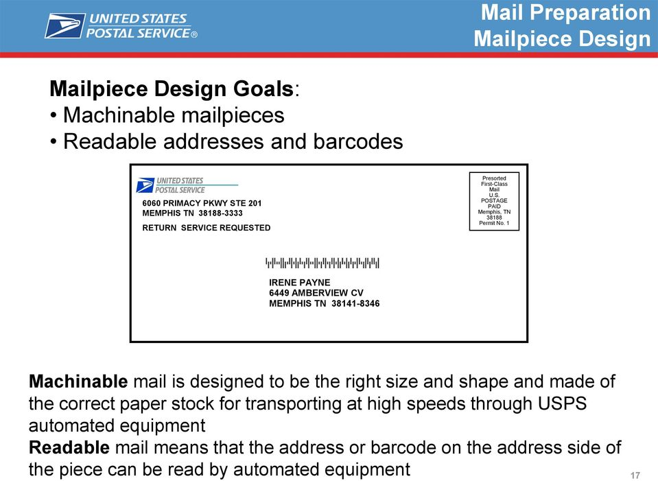 1 IRENE PAYNE 6449 AMBERVIEW CV MEMPHIS TN 38141-8346 Machinable mail is designed to be the right size and shape and made of the correct paper