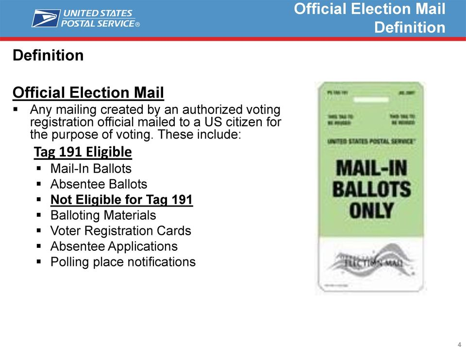 These include: Tag 191 Eligible Mail-In Ballots Absentee Ballots Not Eligible for Tag 191