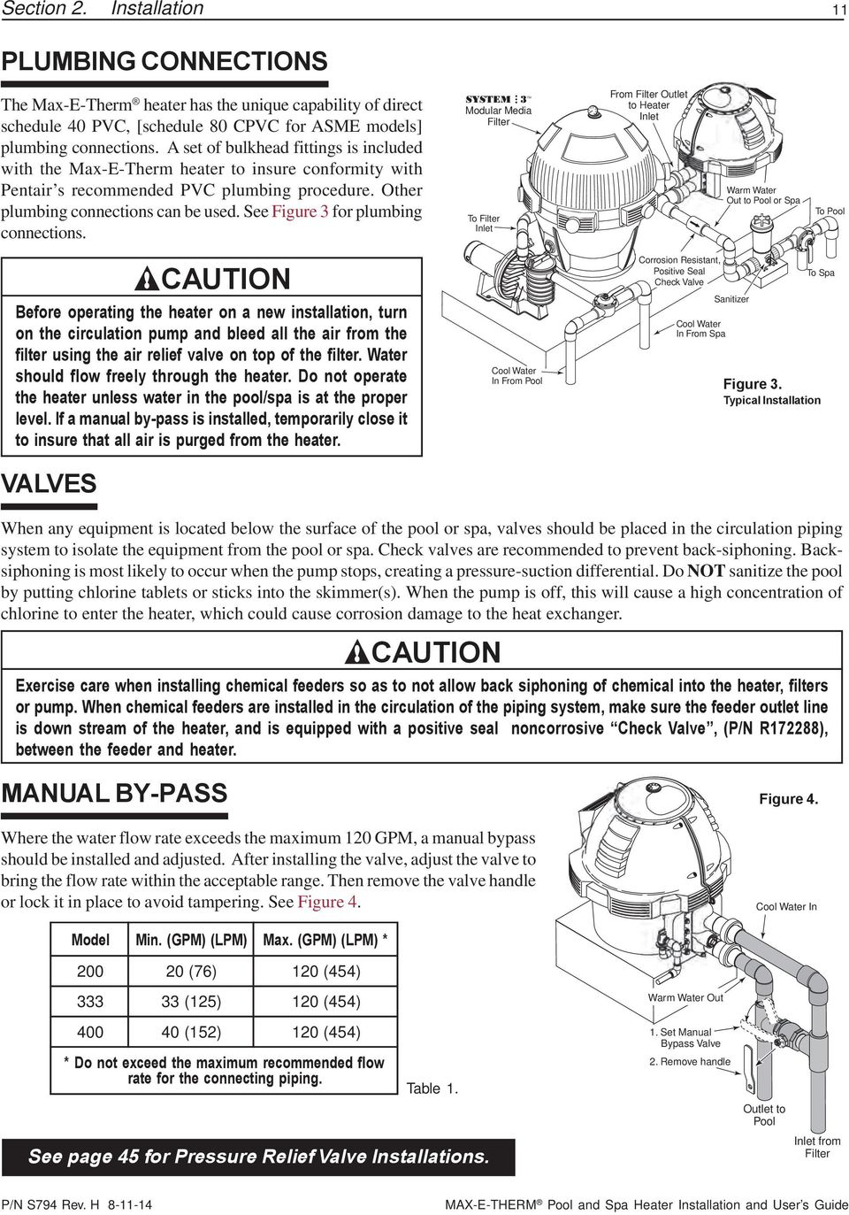Sta Rite Max E Therm Pool And Spa Heater Installation User S Circulation Pump Wiring Diagram See Figure 3 For Plumbing Connections