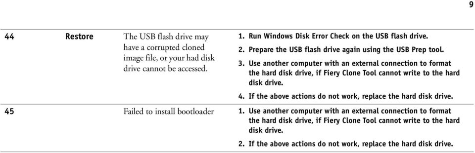 Use another computer with an external connection to format the hard disk drive, if Fiery Clone Tool cannot write to the hard disk drive. 4.