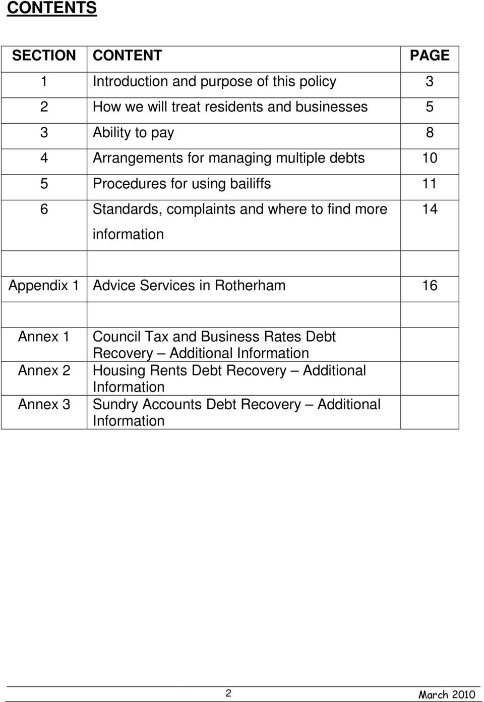 information 14 Appendix 1 Advice Services in Rotherham 16 Annex 1 Annex 2 Annex 3 Council Tax and Business Rates Debt Recovery