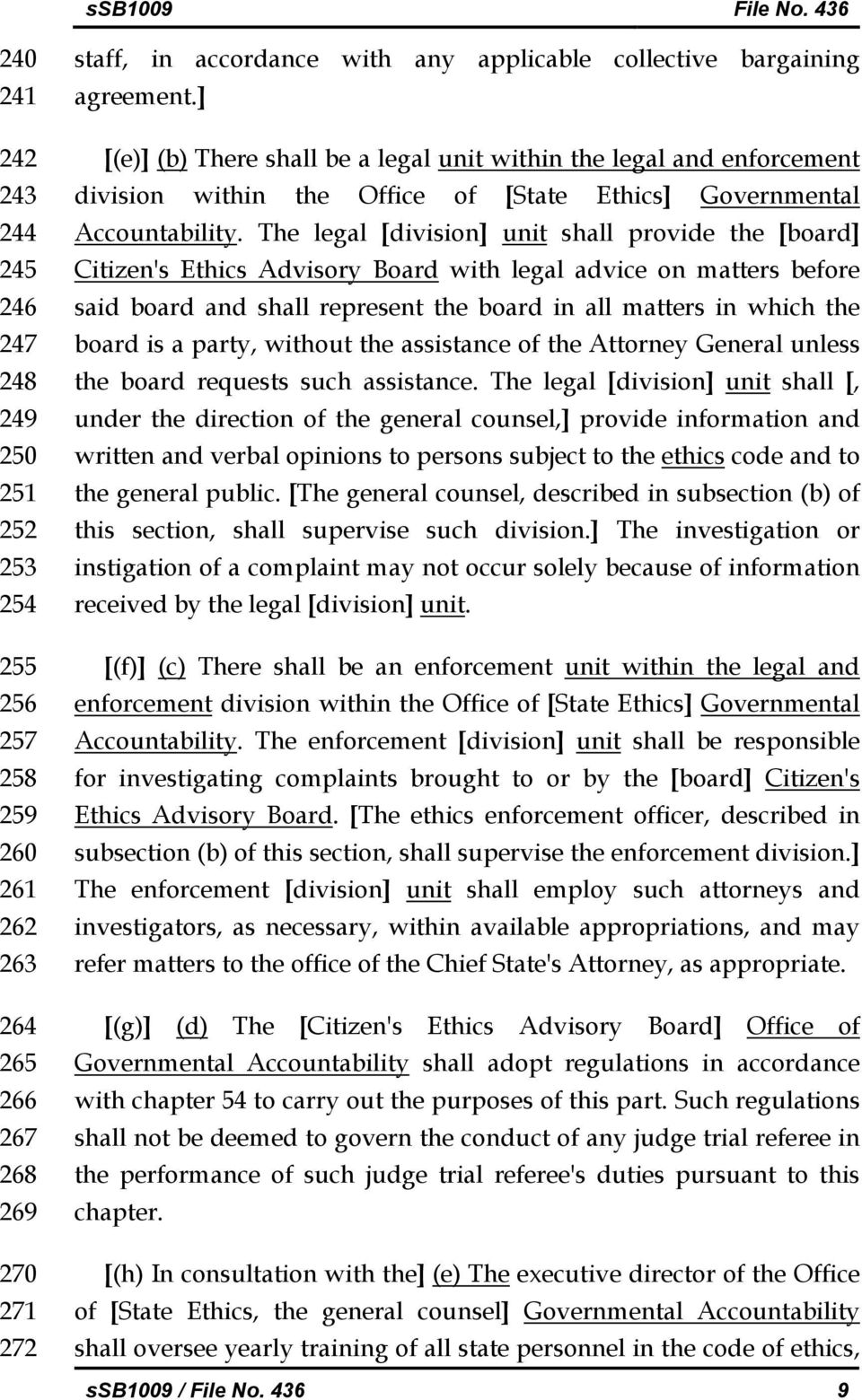 The legal [division] unit shall provide the [board] Citizen's Ethics Advisory Board with legal advice on matters before said board and shall represent the board in all matters in which the board is a