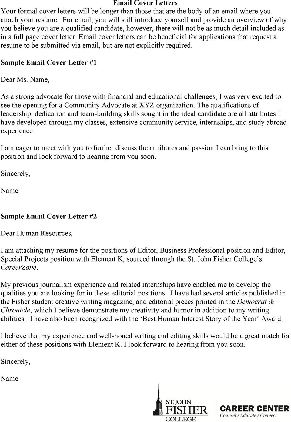 Letter Email Cover Letters Can Be Beneficial For Applications That Request A Resume To