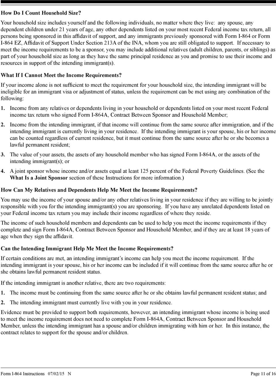 Instructions for Affidavit of Support Under Section 213A of the INA