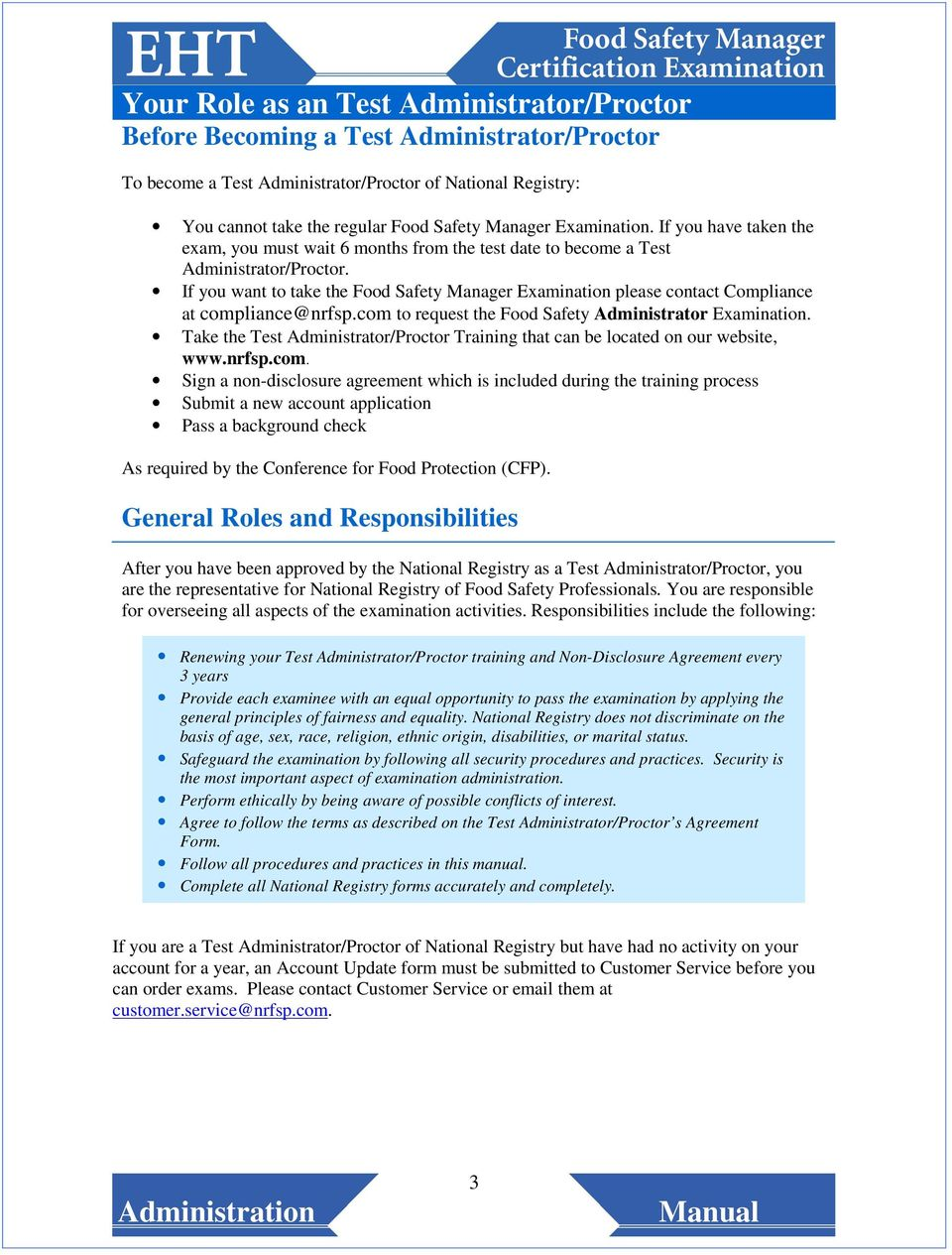 National Registry Of Food Safety Professionals Test Administrator