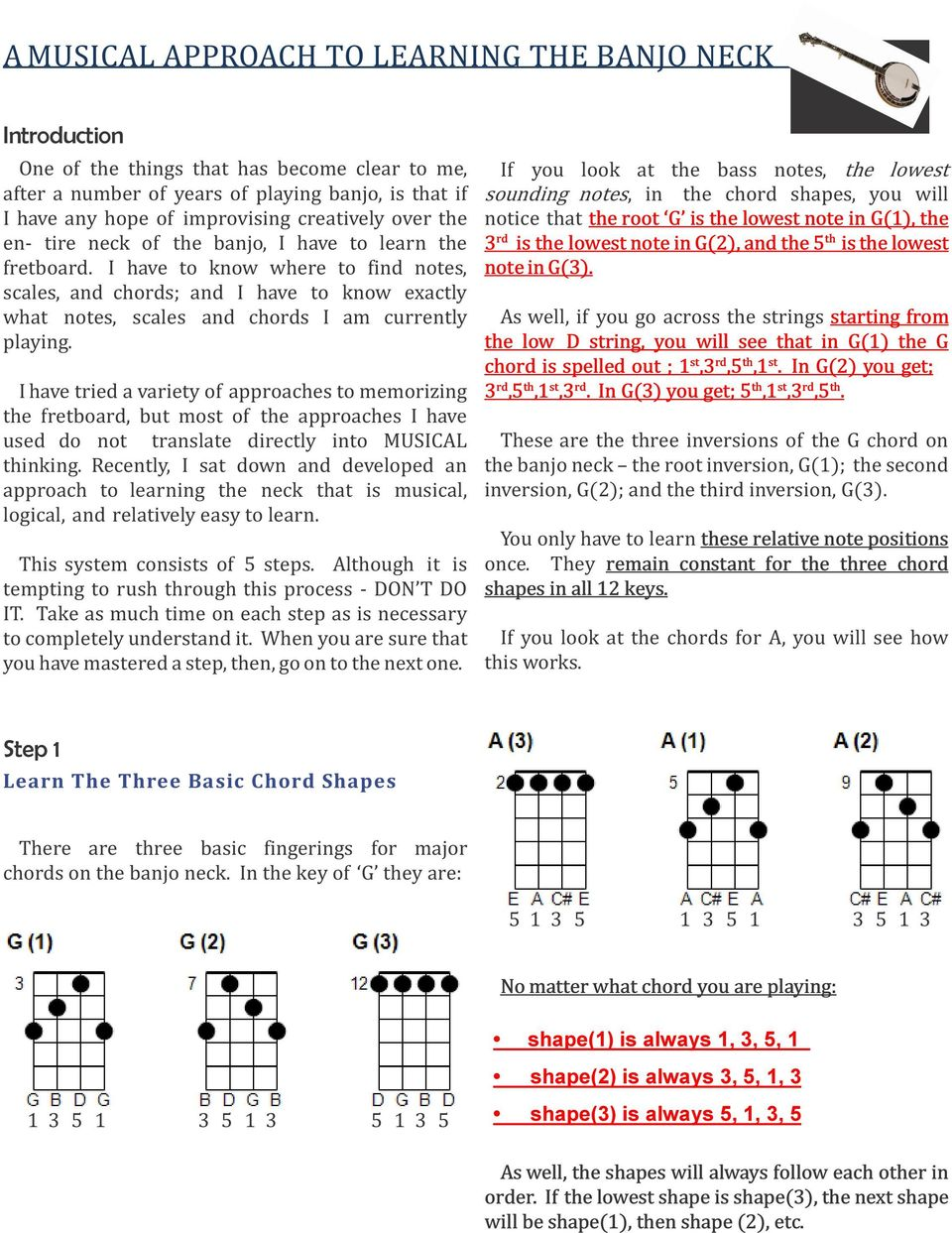 A MUSICAL APPROACH TO LEARNING THE BANJO NECK - PDF