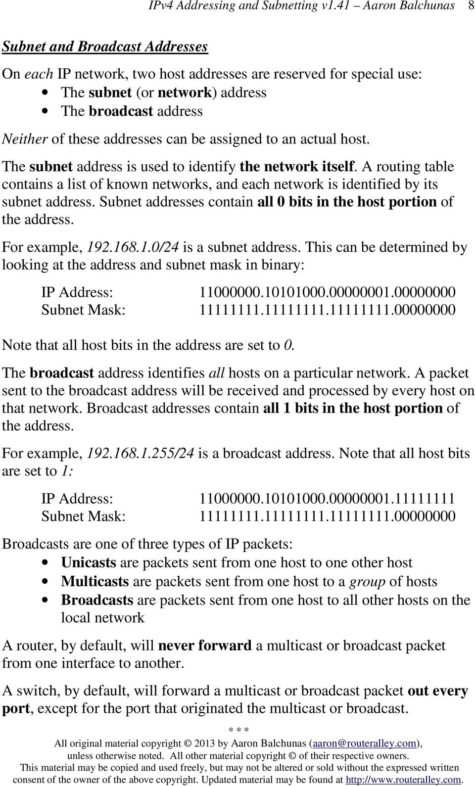 Subnet addresses contain all 0 bits in the host portion of the address. For example, 192.168.1.0/24 is a subnet address.
