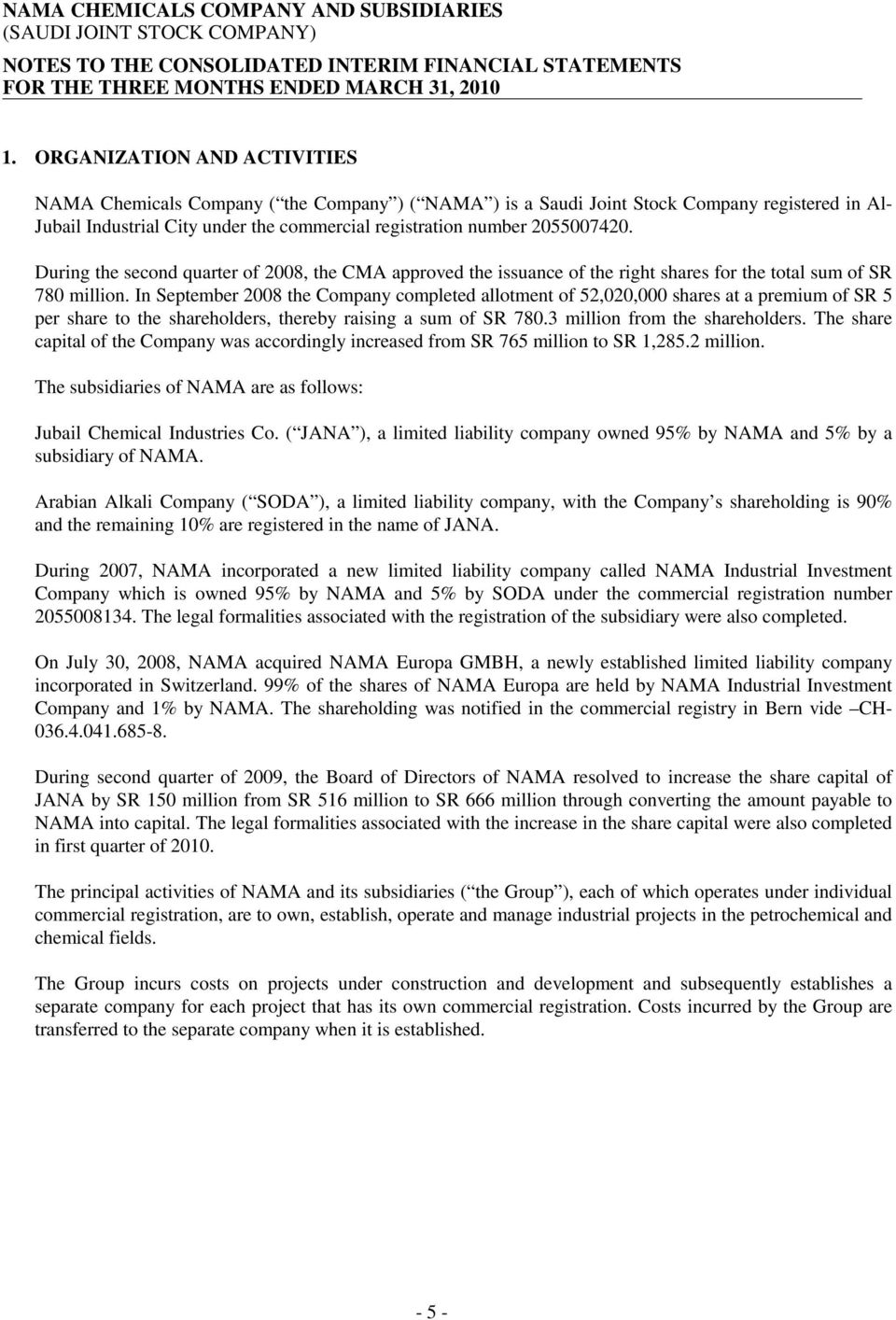NAMA CHEMICALS COMPANY AND SUBSIDIARIES (SAUDI JOINT STOCK
