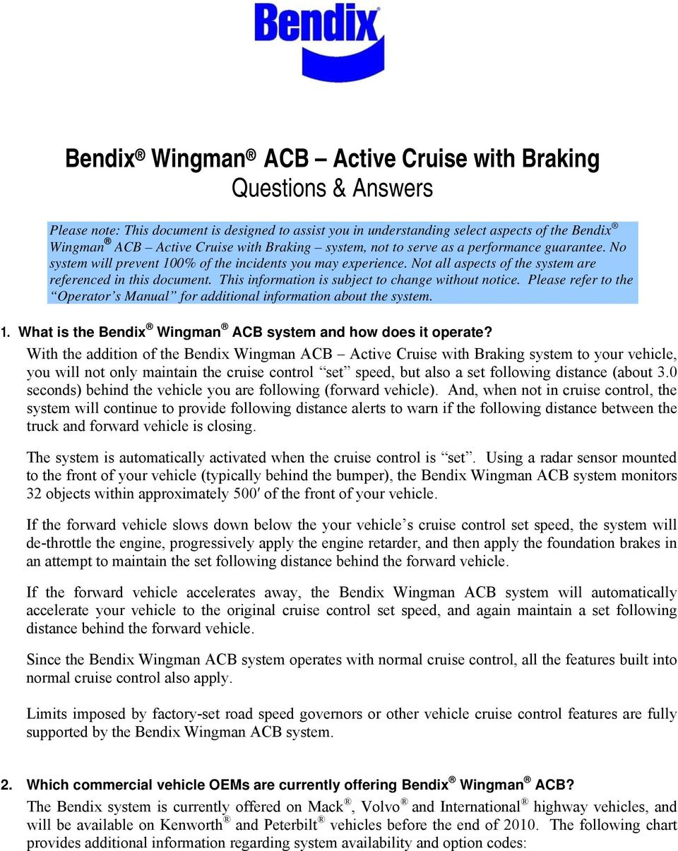 Bendix Wingman Acb Active Cruise With Braking Questions Answers Pdf Wiring Harness This Information Is Subject To Change Without Notice Please Refer The Operator S Manual