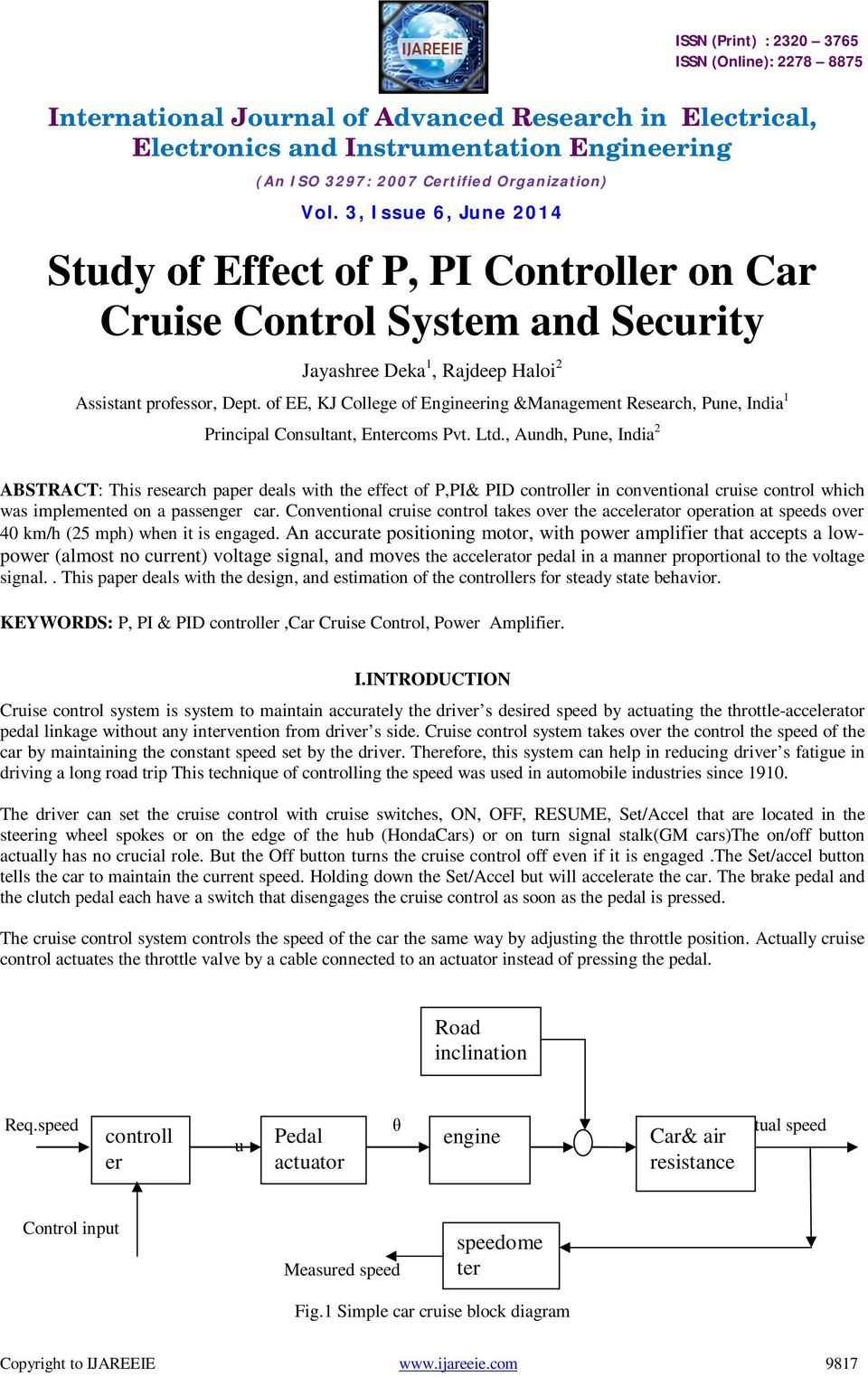 Study Of Effect P Pi Controller On Car Cruise Control System And Fiat Diagram Aundh Pune India 2 Abstract This Research Paper Deals With The