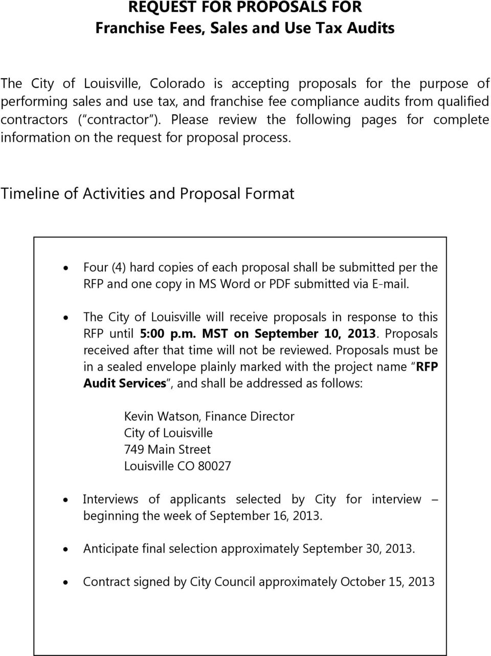 REQUEST FOR PROPOSALS FOR Franchise Fees, Sales and Use Tax Audits - PDF