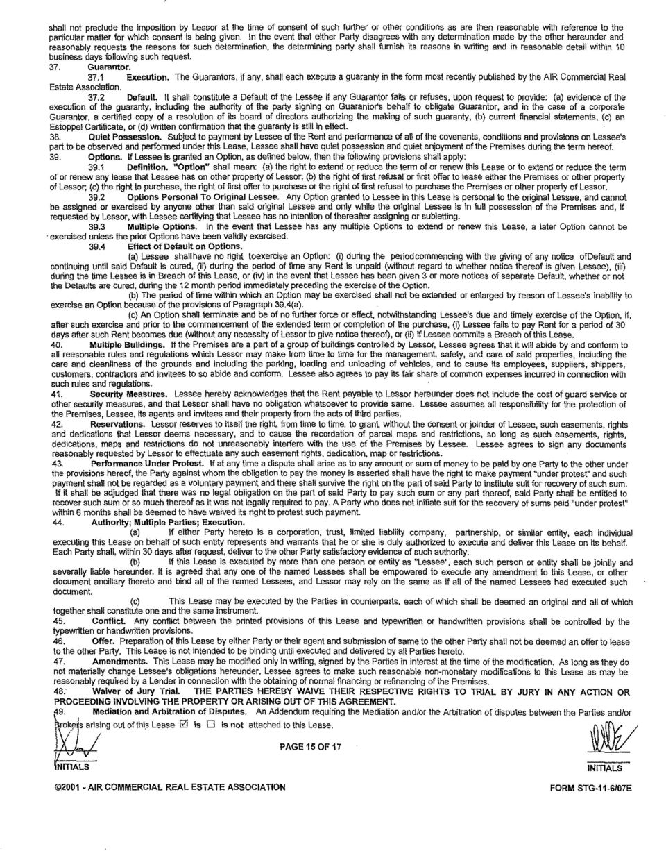 AIR COMMERCIAL REAL ESTATE ASSOCIATION FORM STG 11 6 07E In Writing And Reasonable Detail Within 10 Business Days Following Such Request 37