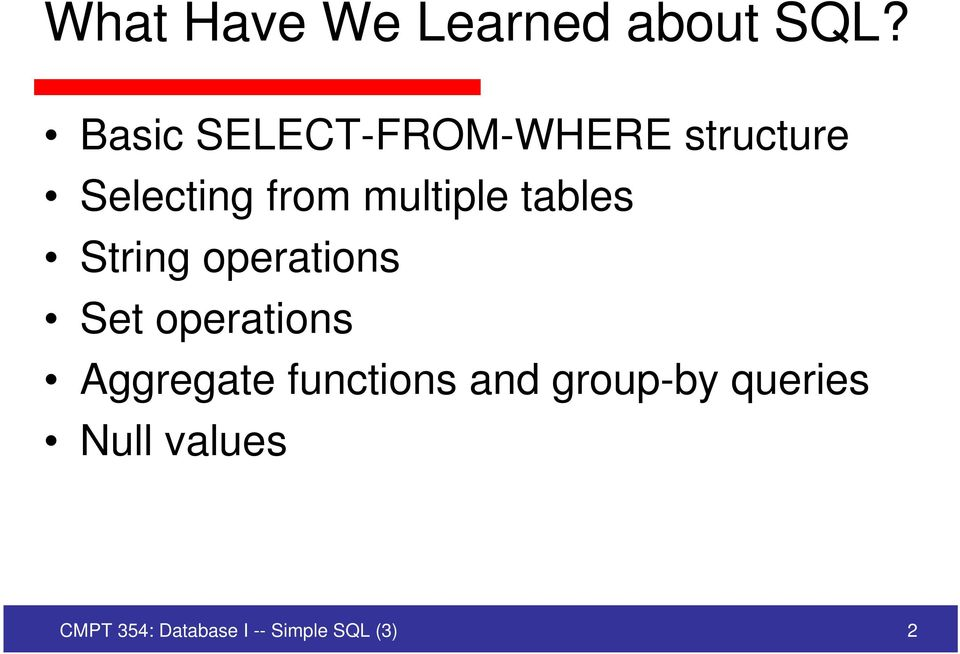 multiple tables String operations Set operations