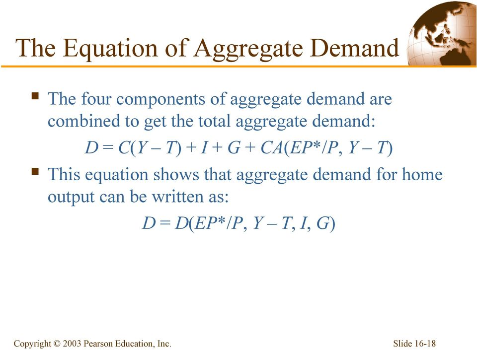 I + G + CA(EP*/P, Y T) This equation shows that aggregate demand