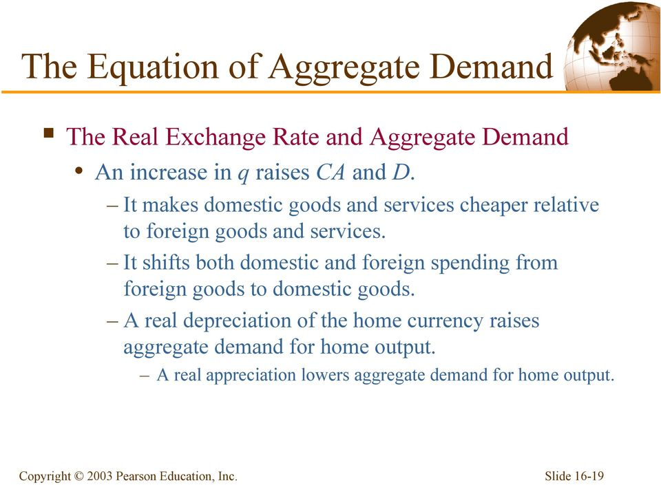 It shifts both domestic and foreign spending from foreign goods to domestic goods.