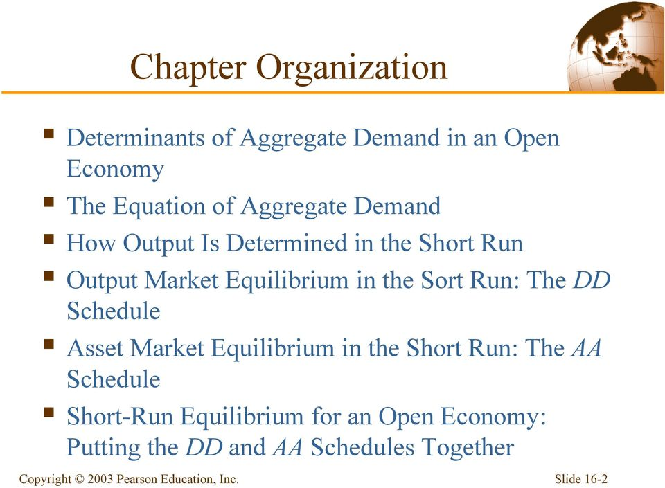 the Sort Run: The DD Schedule Asset Market Equilibrium in the Short Run: The AA Schedule