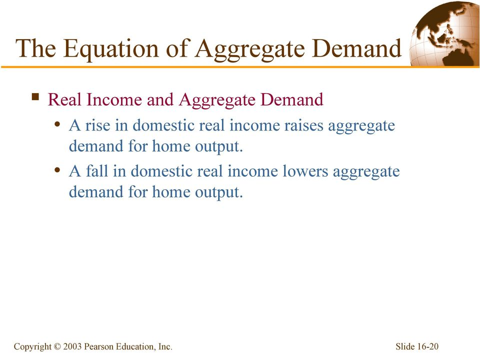 aggregate demand for home output.