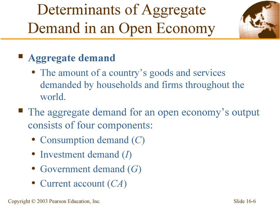 The aggregate demand for an open economy s output consists of four components: