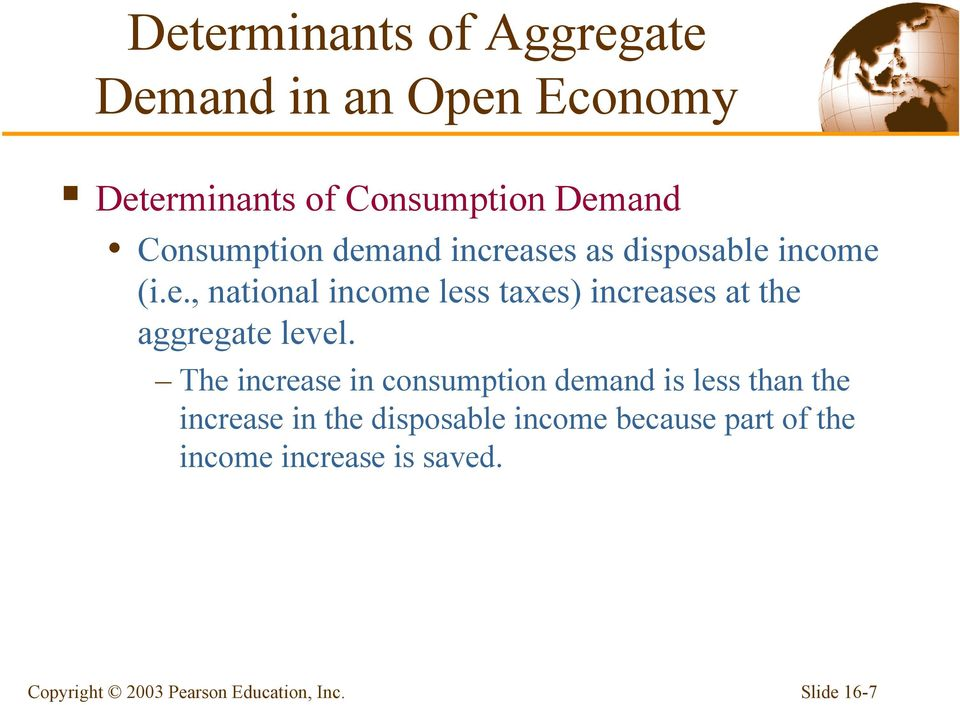 The increase in consumption demand is less than the increase in the disposable income