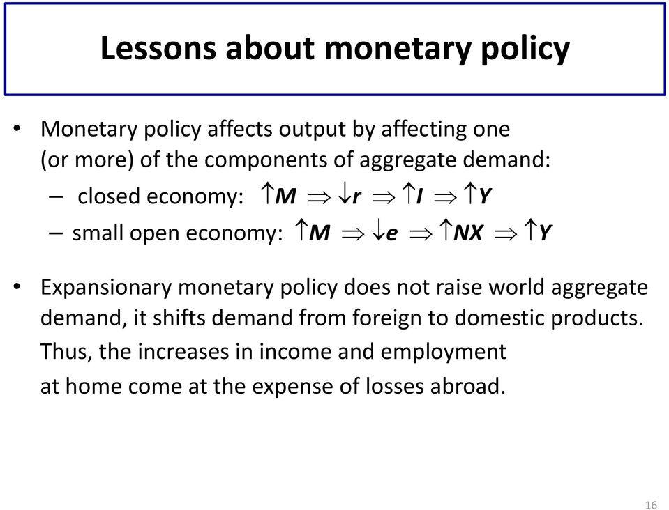monetary policy does not raise world aggregate demand, it shifts demand from foreign to domestic