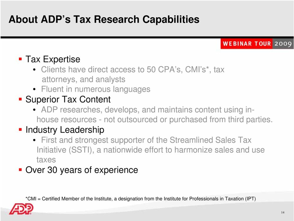 ADP Sales Tax Service  January 14, pm EST - PDF