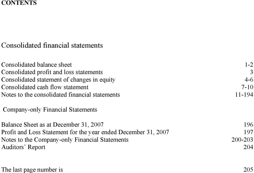 statements 11-194 Company-only Financial Statements Balance Sheet as at December 31, 2007 196 Profit and Loss Statement for