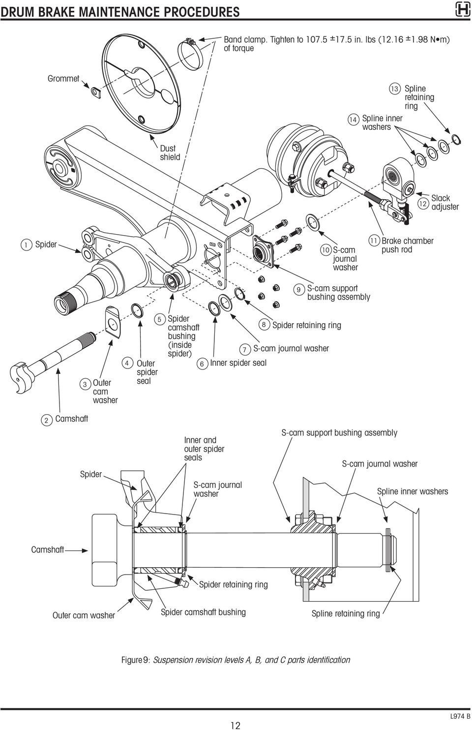 Technical Procedure Hendrickson Trailer Suspension Systems Subject Drum Brake Diagram Rear Brakes P Support Bushing Assembly 3 Outer Cam Washer 4 5 Spider Seal Camshaft