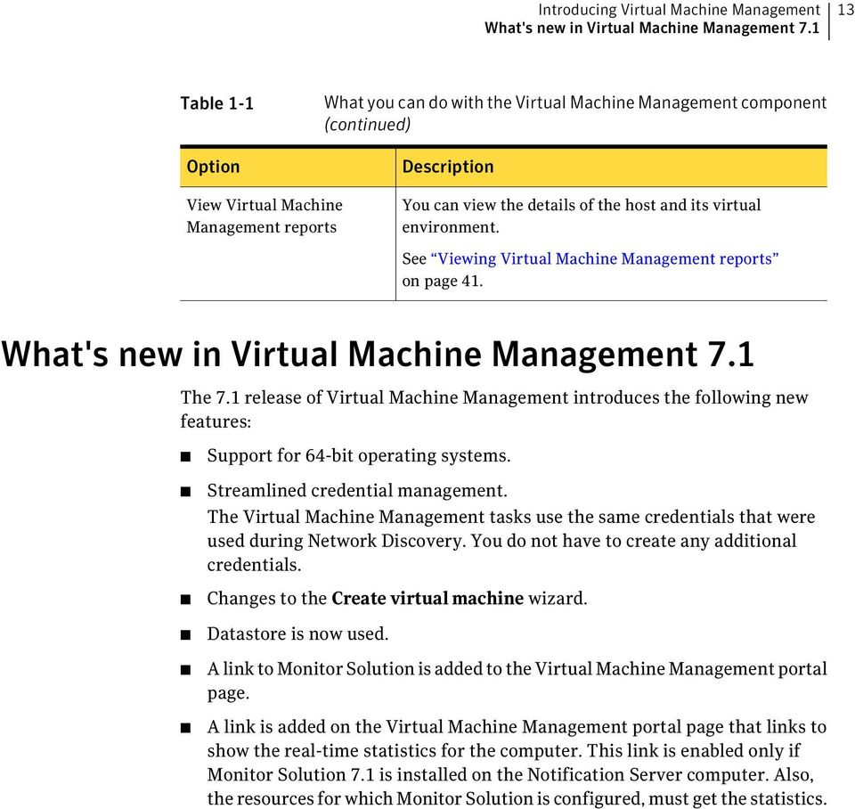 virtual environment. See Viewing Virtual Machine Management reports on page 41. What's new in Virtual Machine Management 7.1 The 7.