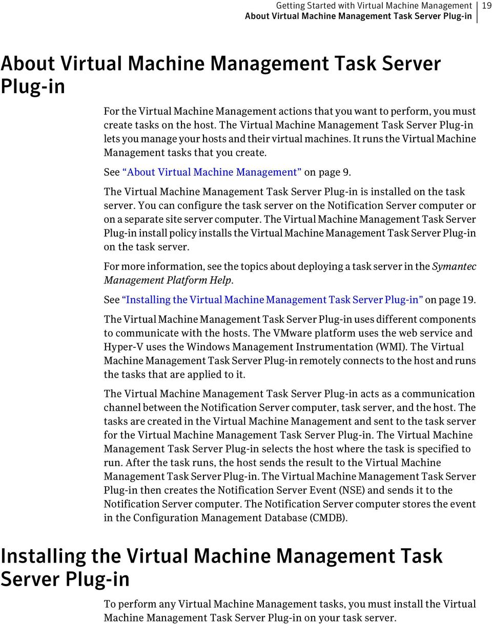 It runs the Virtual Machine Management tasks that you create. See About Virtual Machine Management on page 9. The Virtual Machine Management Task Server Plug-in is installed on the task server.