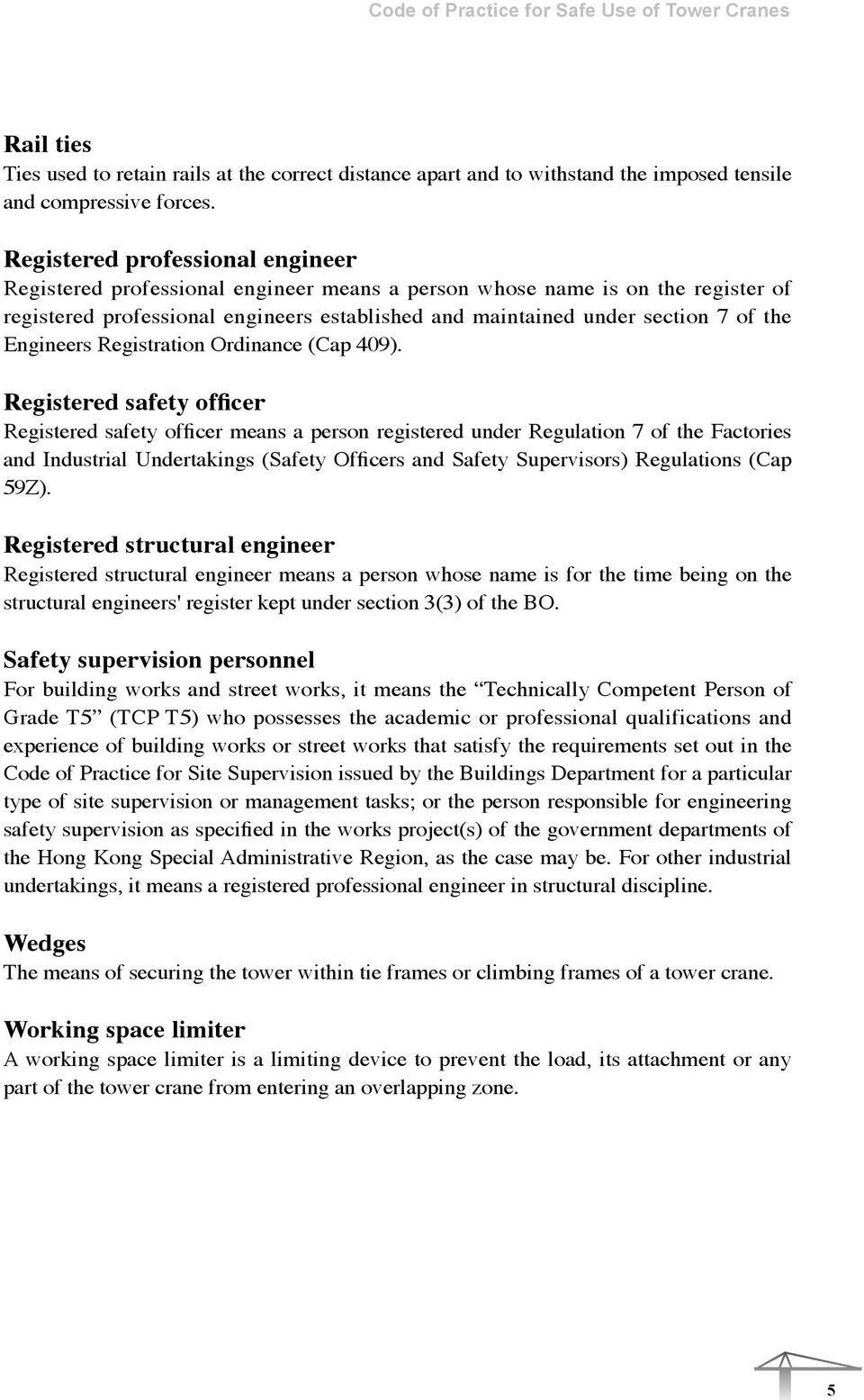 Code of Practice for Safe Use of Tower Cranes  October 2011
