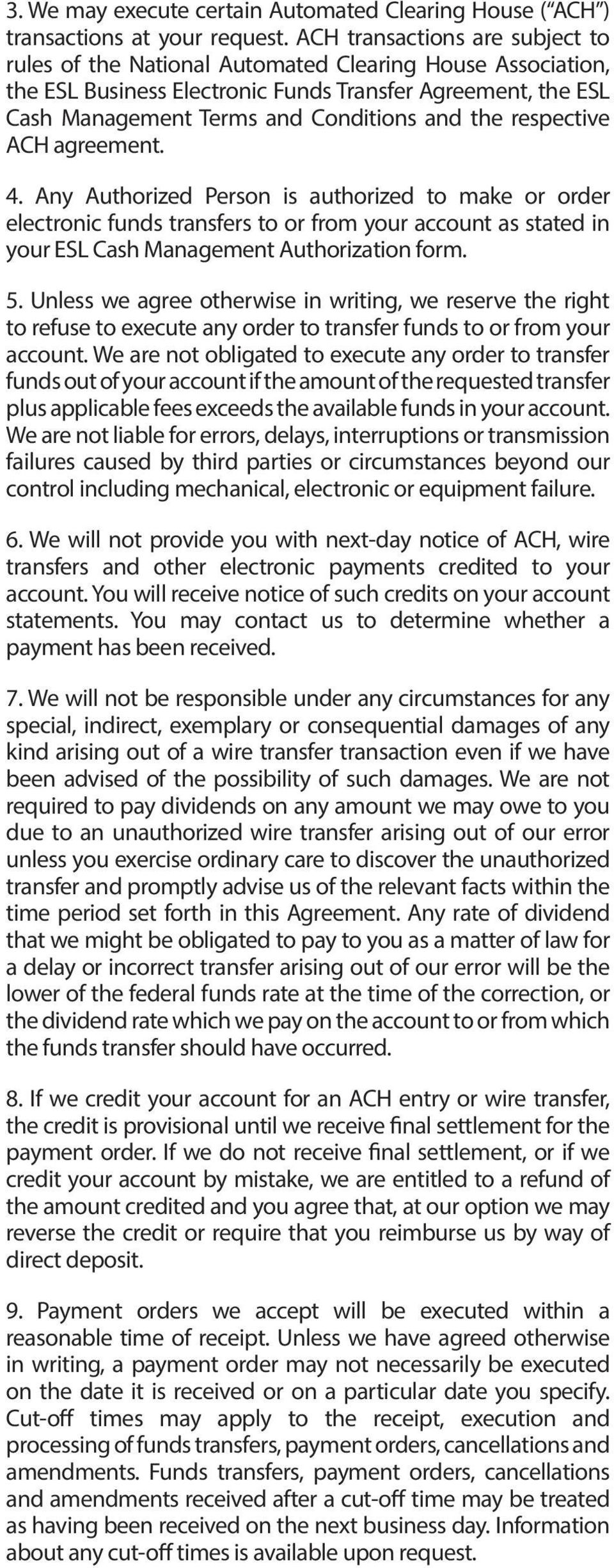 Business Account Agreement And Disclosure Pdf Wiring Funds Vs Ach Respective 4 Any Authorized Person Is To Make Or Order Electronic